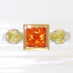 platinum 18 karat orange sapphire yellow diamonds featured