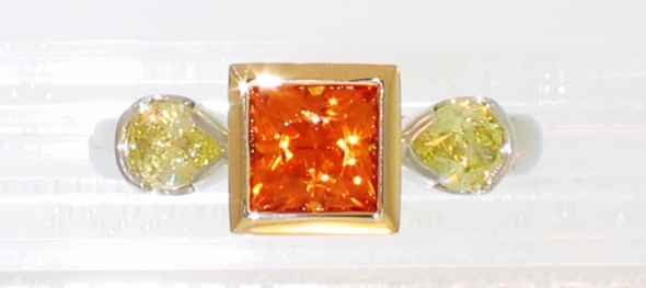 platinum 18 karat orange sapphire yellow diamonds top down