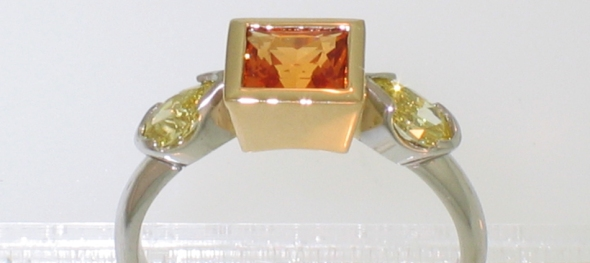 platinum 18 karat orange sapphire yellow diamonds