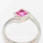 Platinum pink sapphire princess diagonal bezel solitaire ring featured