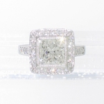 Platinum princess-cut halo ring featured