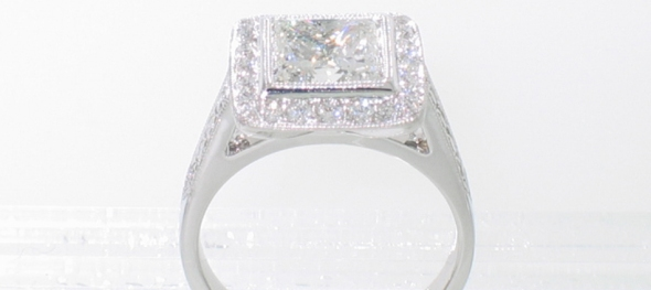 Platinum princess-cut halo ring side view