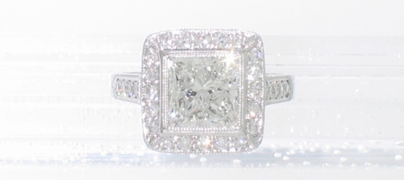 Platinum princess-cut halo ring