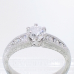 platinum prongs tapered channel engraved featured