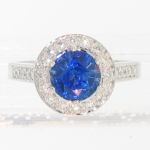 Platinum Sapphire Halo Ring featured