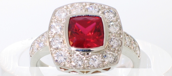 ruby cushion halo ring white gold