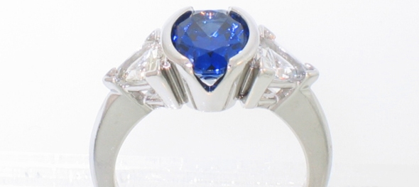Sapphire Oval with Diamond Triangles